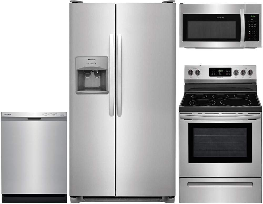 "Frigidaire 4-Piece Stainless Steel Kitchen Package with FFSS2615TS 36"" Side-by-Side Refrigerator, FFEF3054TS 30"" Freestanding Electric Range, FFCD2418US 24"" Full Console Dishwasher and FFMV1645TS 30"""