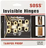 SOSS Mortise Mount Invisible Hinges with 4 Holes, Zinc, Satin Brass Finish, 1-1/2'' Leaf Height, 1/2'' Leaf Width, 19/32'' Leaf Thickness, #6 x 1'' Screw Size (10 Pairs)