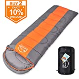 LATTCURE Sleeping Bag, Comfort Portable Lightweight Envelope Sleeping Bag Compression Sack Camping,Hiking,Backpacking,Traveling Other Outdoor Activities -Single,Orange+Grey,(75'+12') x33