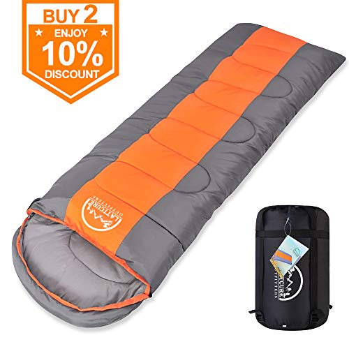 LATTCURE Sleeping Bag, Comfort Portable Lightweight Envelope Sleeping Bag with Compression Sack for Camping,Hiking,Backpacking,Traveling and Other Outdoor Activities -Single,Orange+Grey,(75
