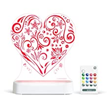 Aloka Love Heart Starlight Multi-Colored LED Light with Remote Control, Multi-Color Changing, 8 Inch