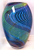 Murano Art Glass Vase Blue with Stripes and Lines A57 with Certificate