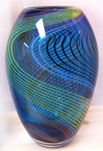 Amazon Murano Art Glass Vase Blue With Stripes And Lines A57