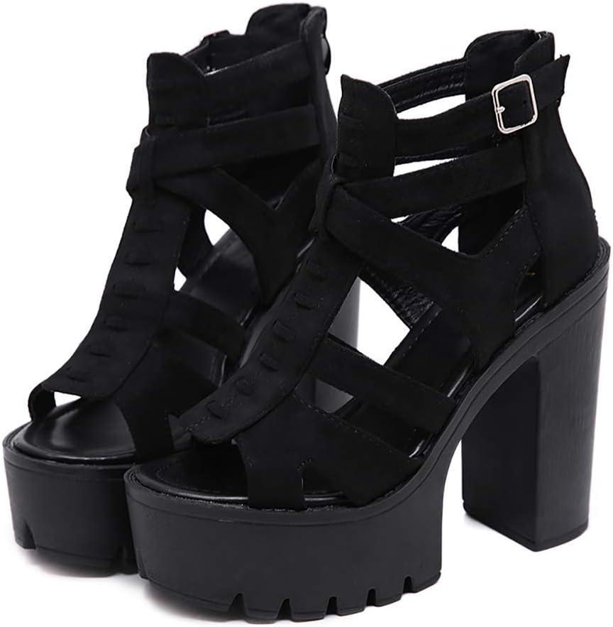 Chaussures Gothiques H-O Sandales pour Femmes Chaussures en Daim Gladiator de Rome pour Femmes Noir,35 Sandales pour Femmes avec Talon 9 10 8 11 7 12 6 8.5 Chaussures /à Talons Hauts