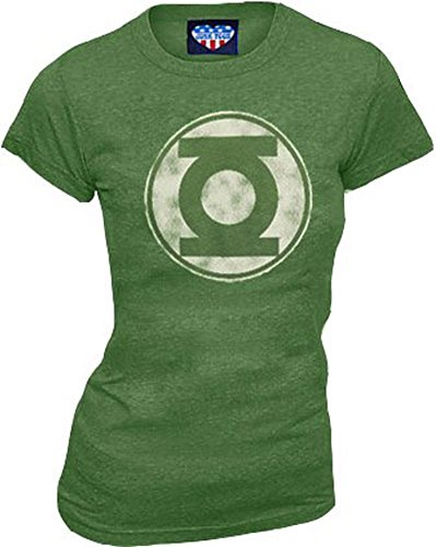 - Green Lantern Kelly Green Distressed Logo Juniors T-shirt Tee (Juniors Large)