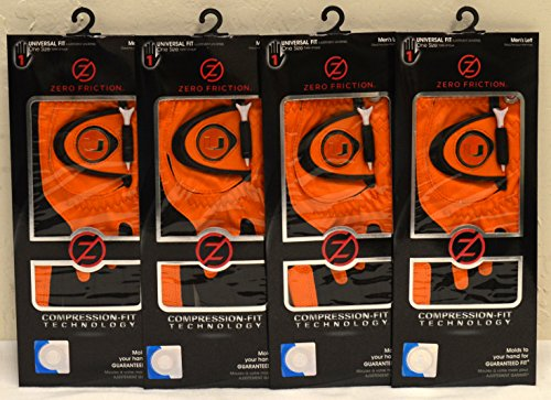 4 Zero Friction Men's Left Hand Universal Golf Gloves - University of Miami- Orange by Friction