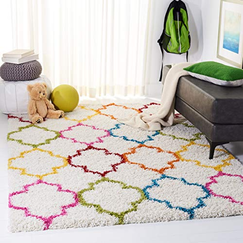 Safavieh Kids Shag Collection SGK569A Ivory and Multi Square Area Rug (6'7' Square)