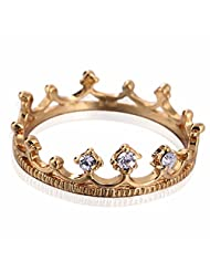 Fashion Women White Copper Gold Plated Crown Ring Full Crystal Jewelry Gift bague