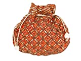 Indian sequence Potli Bag/ wedding purse/jewelery purse for girls & women (Base Color- Orange)