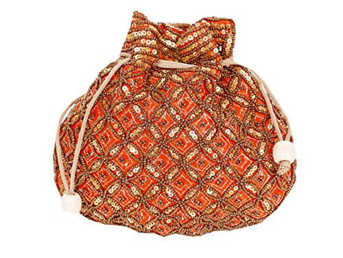 Indian sequence Potli Bag/ wedding purse/jewelery purse for girls & women (Base Color- Orange) by Suman Enterprises
