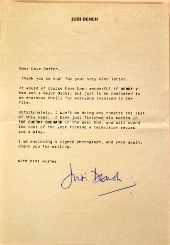 Judi Dench Typed / Signed Letter - On Personal Letterhead - Very Rare - Signed in Blue Ink - Casino Royale - Collectible from Bamber