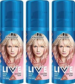 Schwarzkopf Live Colour Temporary Hair Spray, Rose Gold Blush, Pack ...