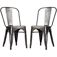 Merax High Back Steel Stackable Vintage Metal Dining Chair, Golden Black (Set of 2)