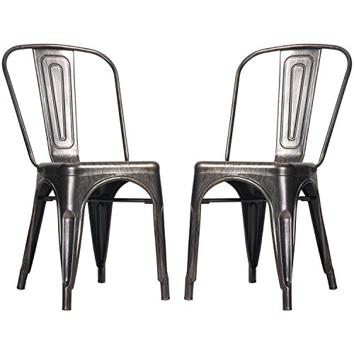 Merax High Back Steel Stackable Vintage Metal Dining Chair,