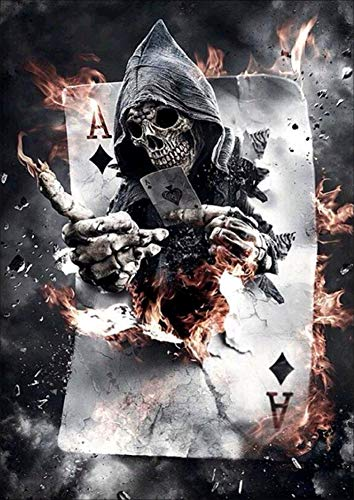 5D Diamond Art Painting Full Drill Kits, Awesocrafts Halloween Skull Playing Cards Burning DIY Mosaic Cross Stitch for Adults Kids (Playing Cards)