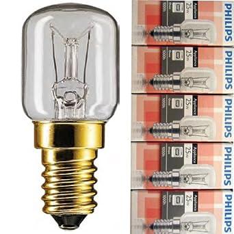 Paquet de 5ampoules Philips pour four, E14230V SES 57x 25mm, 2700K,EEK = E (énergie de classe E), E = 25W [Classe énergétique E]