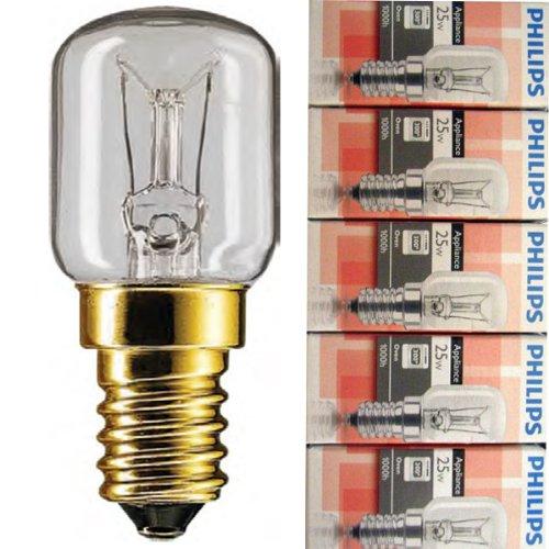 5 Stück Philips Appliance Backofenlampe T25 25W 230V E14 SES 57x25mm 2700K EEK=E [Energieklasse E]