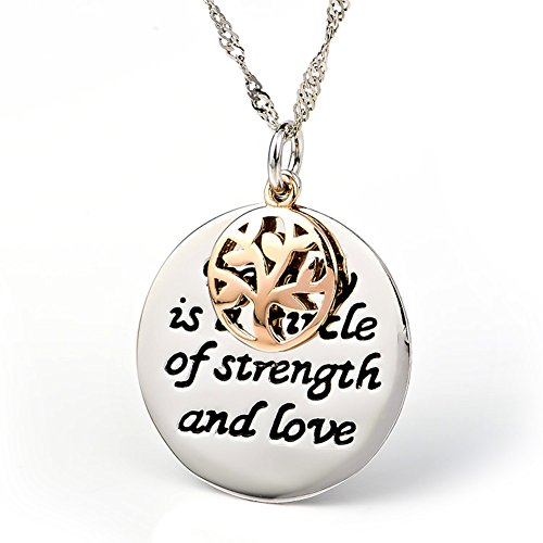 YFN S925 Sterling Silver Inspirational Family Tree Love Message Engraved Pendant Necklace