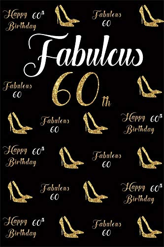 - AOFOTO 6x9ft Mother Woman 60th Birthday Backdrop Vinyl Golden High Heels Ladies Fabulous 60 Sixty Years Old Happy Bday Bash Decoration Black Background Cloth Photo Studio Props