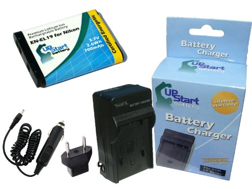 Nikon Coolpix S3300 Battery and Charger with Car Plug and EU Adapter - Replacement for Nikon EN-EL19 Digital Camera Batteries and Chargers (700mAh, 3.7V, Lithium-Ion)