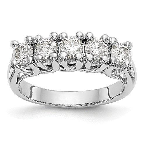 JewelrySuperMart Collection 1 CT 14k White Gold 5 Stone Diamond Anniversary Band. 1.0 ctw.