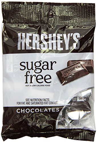 HERSHEY Chocolate Candy, Sugar Free, 3-Ounce Bags (Pack of 12)