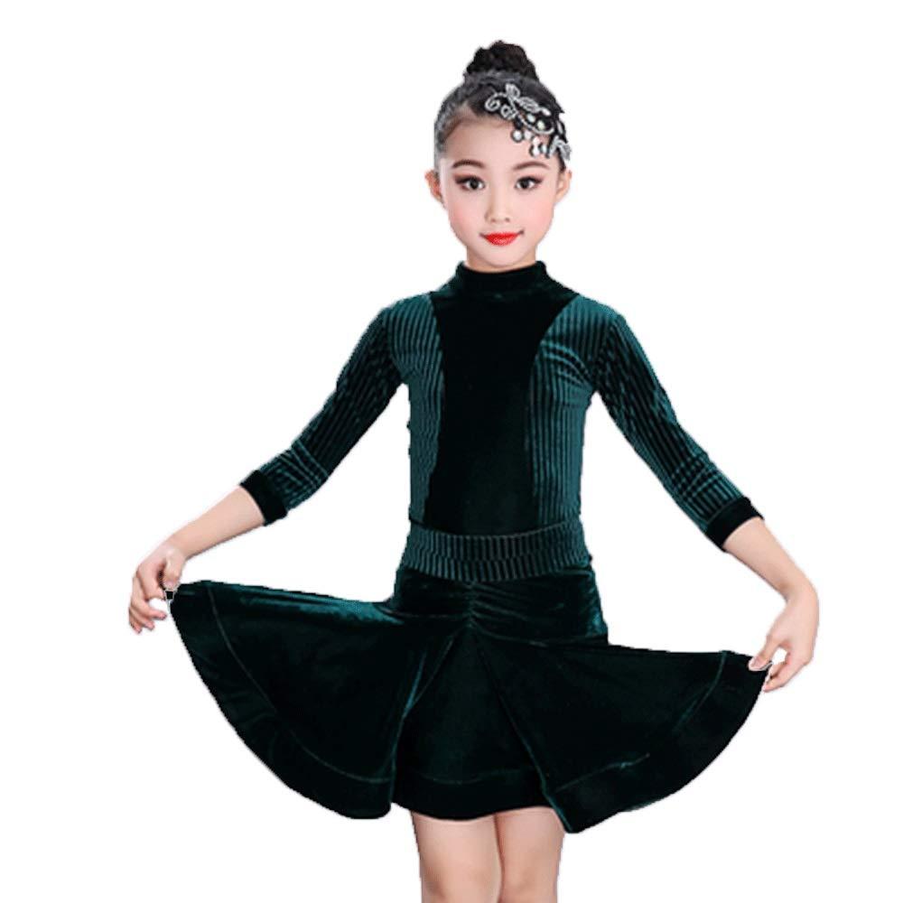 Le Vert Foncé HUO FEI NIAO Costume De Danse - Manches à La Mode Robe De Danse Latine Costume De Danse (Couleur   Noir, Taille   XL) Medium