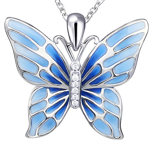 Sterling Silver Enamel Pendant (Sterling 925 Silver Fashion Enamel Blue Charm Long Butterfly Pendant Necklace Gift Jewelry for Women or Girls)
