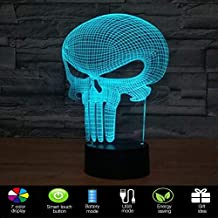 Lmeison Punisher 3D Night Light Illusion Lamp LED Desk Table Lamp with USB Cable, 7 LED Colors Change, Smart Touch, Button Control, Acrylic Panel & ABS Base, Best Gift for Boys Girls