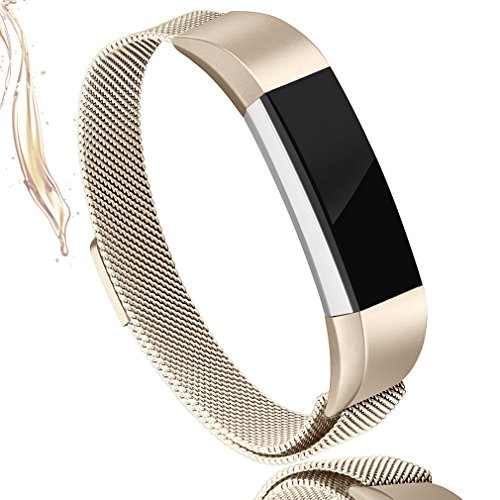 AK For Fitbit Alta HR Bands Milanese Stainless Steel Small Large Magnetic Closure, Adjustable Alta HR/Alta Accessories Metal Bands Straps for Fitbit Alta HR 2017/Fitbit Alta 2016 (Champagne, Small) by AK