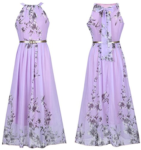 JudyBridal Women Floral Print Summer Boho Long Beach Dresses Prom Party Dress S ()