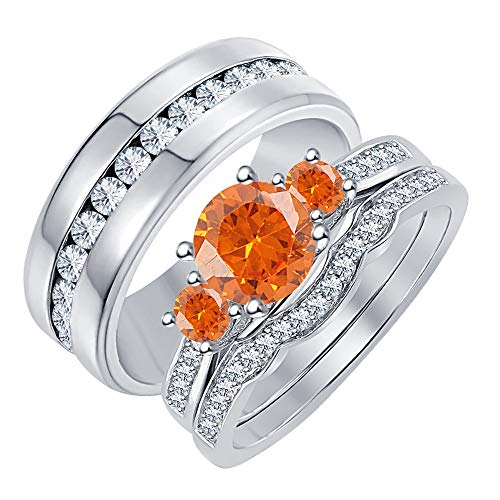 - RUDRAFASHION 3-Stone Round Orange Sapphire & White Diamond 14K White Gold Plated Engagement Wedding Band Trio Ring Set for His & Her .925 Sterling Silver