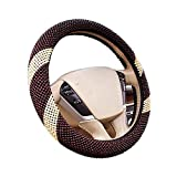 Hsdris Steering Wheel Cover Suitable for Summer Wood Beads Material Cover Cool Comfortable Breathable Universal 15 inch - C