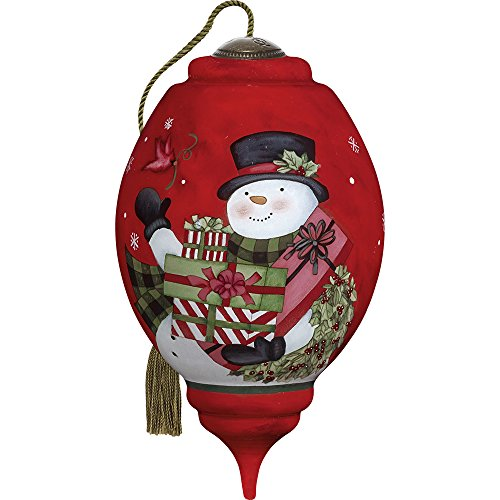 Snowman Hand Painted Ornaments - Ne'Qwa Precious Moments, Art 7171154 Hand Painted Blown Glass Standard Trillion Shaped Your Friendship Is A Gift Snowman Ornament, 5.5-inches