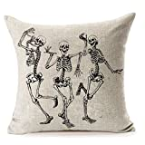 "Halloween Skull Pillow Covers,MFGNEH Home Decor Halloween Gifts Cotton Linen Sofa Throw Pillow Case Cushion Cover 18"" x 18"""