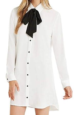 Vestido De Camisa para Mujer Primavera Otoño Casual Pussy Bow ...