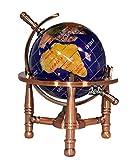 Unique Art 6-Inch Tall Blue Lapis Ocean Mini Table Top Gemstone World Globe with Copper Tripod