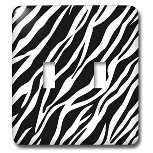 3dRose lsp_56302_2 Zebra Art Black and White Zebra Print Animal Prints Double Toggle Switch