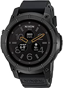 Nixon Mission Action Sports Smartwatch A1167001-00. All Black Men's Watch (48mm. Black Face/Black Silicone Band)