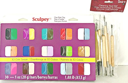 (Bundle: Sculpey III Polymer Clay and 11 Piece Modeling Clay Tool Set + Gift Bag)