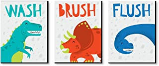 product image for Big Dot of Happiness Roar Dinosaur - Dino T-Rex Kids Bathroom Rules Wall Art - 7.5 x 10 inches - Set of 3 Signs - Wash, Brush, Flush