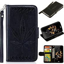 HUAWEI P8 lite Case, KMETY(TM) [Wrist Strap] Premium PU Leather Wallet Case with [Kickstand] Card Holder and ID Slot for HUAWEI P8 lite Case,Black Maple Leaf