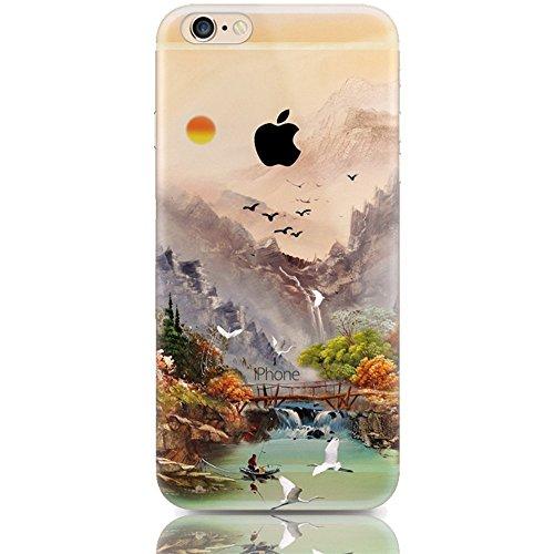 """Étui pour iPhone 6 iPhone 6S TPU, Ruirs Nice coloré d'impression ultra-transparent transparent TPU téléphone étui pour iPhone 6 / 6S 4.7""""(la peinture de paysage)"""
