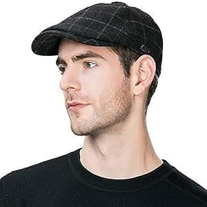 Mens Winter Ivy Newsboy Tweed Flat Hunting Gatsby Button Top Hat Fall Black