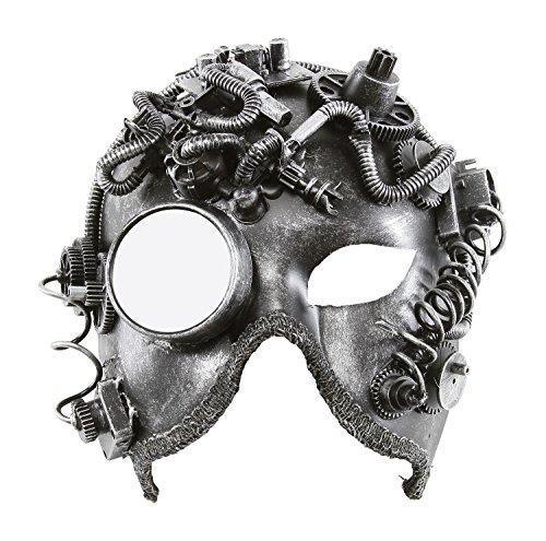 KAYSO INC The Alchemist Victorian Steampunk Bauta Full Face Masquerade Mask (Rustic Silver) (Victorian Face Masks)
