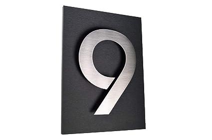 número de casa hogar placa acero inoxidable nº 9 H20 cm/200 ...