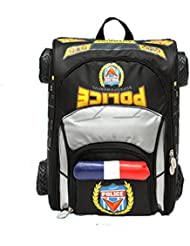 3D Police Car Style Baby Boys Schoolbag Backpack for Kids (BLACK)