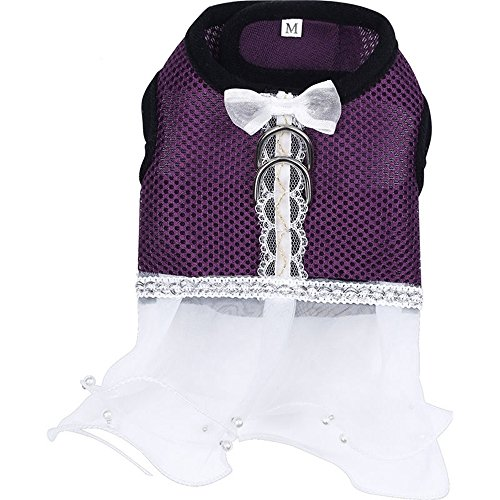Costume Notre Dame De Paris (Harness Dog Dress Pet Striped Multiple Layers Yarn Skirt Puppy Apparel Cothes, Purple,Medium)