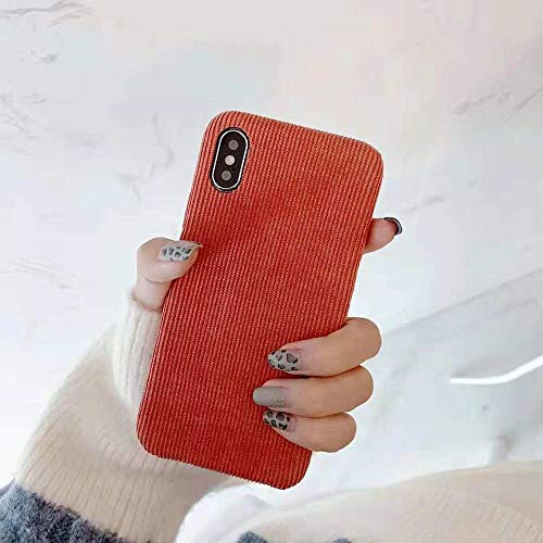 Mixneer Corduroy Cloth Texture Soft Warm case for iPhone 7 Case Ultra-Thin TPU Fabric Full Phone Cases for iPhone 6 6S 7 8 Plus X Xs Max - iPhone 7 8 - Pumpkin