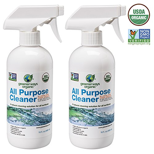 Greenerways Organic All-Purpose Cleaner, Natural USDA Organic Non-GMO, Best Household Multi Surface Spray Cleaner for Home, Glass, Kitchen, Bathroom, Shower, Window, Streak Free - 2 PACK DEAL (2) 16oz